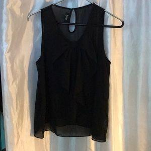 Sheer Black Sleeveless Dressy Blouse